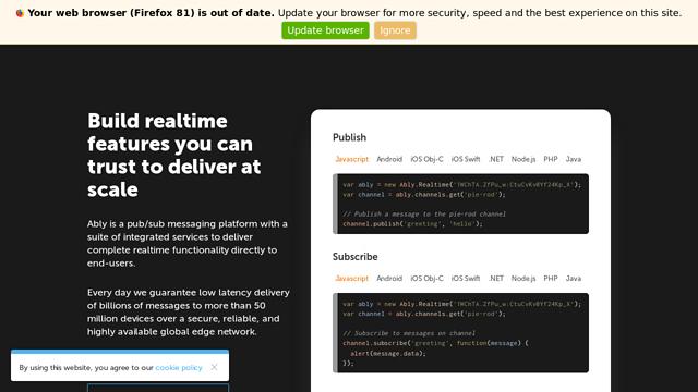 Ably-Realtime API koppeling