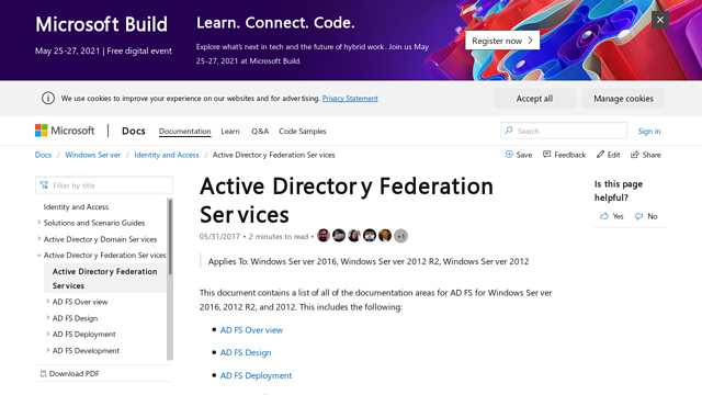 Active-Directory-Federation-Services API koppeling