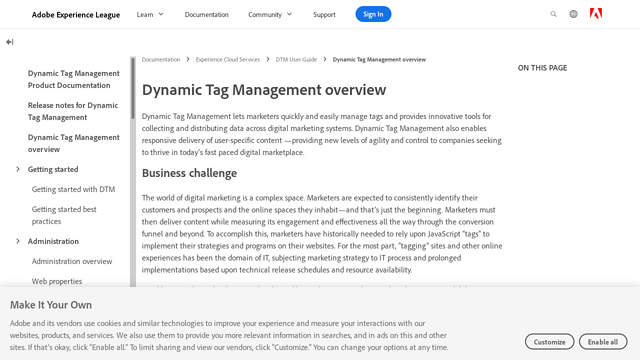 Adobe-Dynamic-Tag-Manager API koppeling
