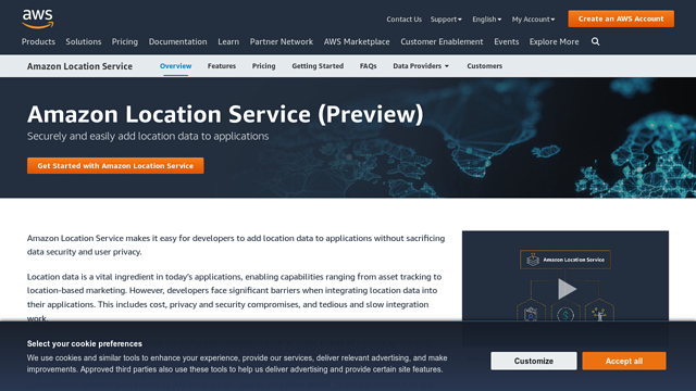 Amazon-Location-Service API koppeling