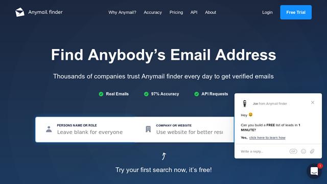 Anymail-finder API koppeling