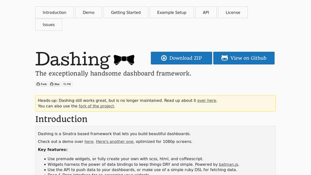 Dashing API koppeling