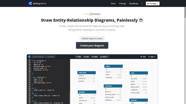 dbdiagram.io API koppeling