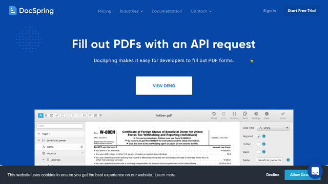 DocSpring API koppeling