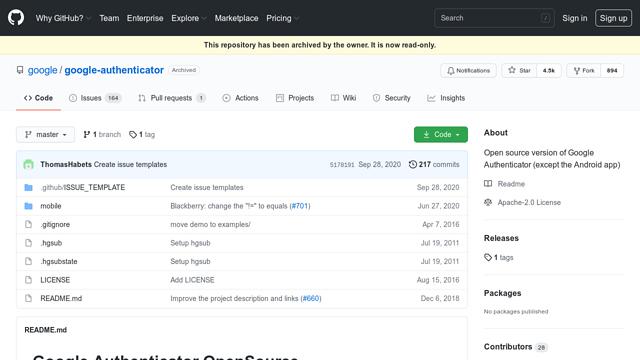 Google-Authenticator API koppeling