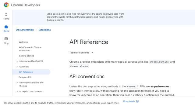 Google-Chrome-Extension API koppeling