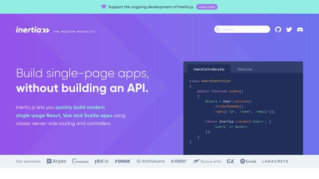 Inertia.js API koppeling