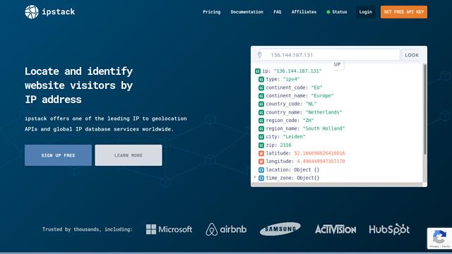 ipstack API koppeling