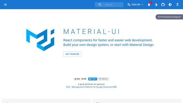 Material-UI API koppeling