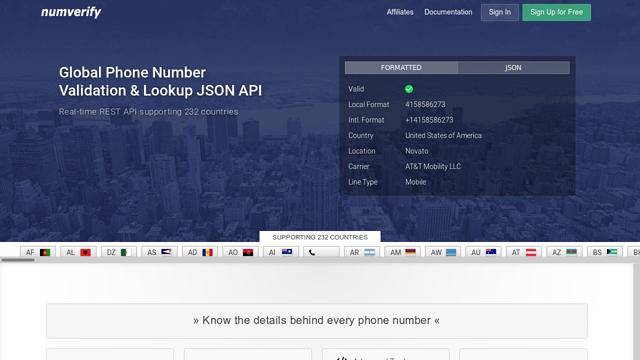 Numverify API koppeling