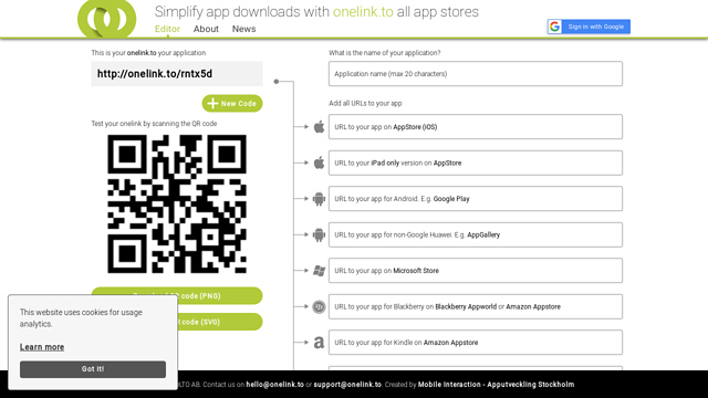 onelink.to API koppeling