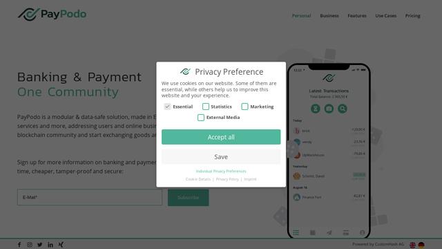 Paypodo API koppeling