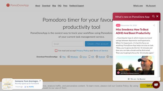PomoDoneApp API koppeling