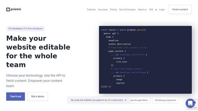 Prismic API koppeling
