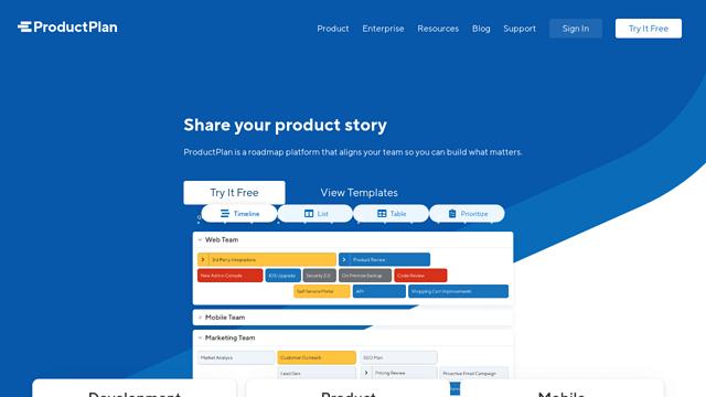 ProductPlan API koppeling