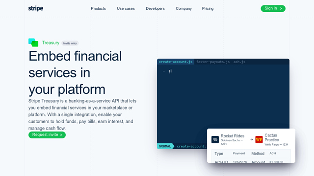 Stripe-Treasury API koppeling