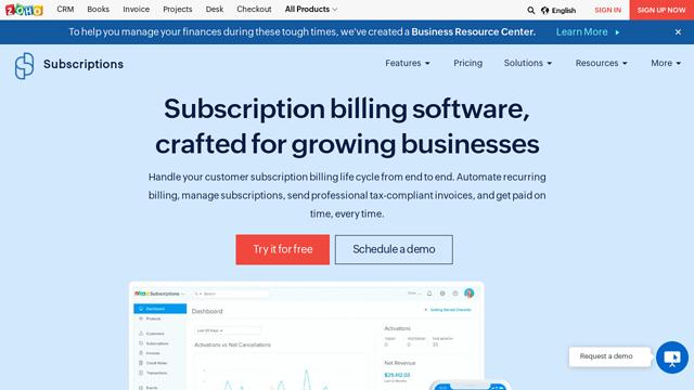 Zoho-Subscriptions API koppeling